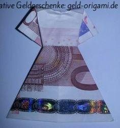 Sie suchen ein kreatives Geschenk zu einer Hochzeit? Wie wäre es mit einem Brautkleid aus einem Geldschein? So wird ein Geld-Kleid aus einem Geldschein gefaltet: http://geld-origami.de/kleid-aus-einem-geldschein-falten/811