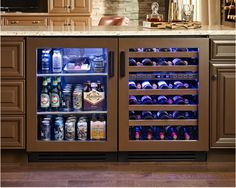 Chattanooga Man Cave with True Residential Glass Door Refrigerator and Dual Zone Wine Cabinet. Both in overlay panel option. House Design, Wine Cabinets, Butler Pantry, Home, Beer Fridge, Home Diy, Glass Door Refrigerator, Wet Bar, Kitchen Remodel