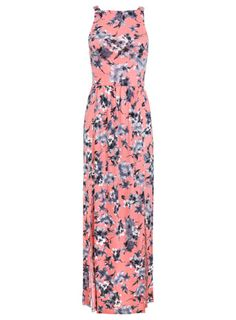 Pink Floral Pinny Maxi Dress