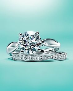 Tiffany Harmony® engagement and band rings in platinum.