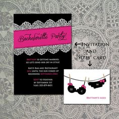 Bra And Panties Polka Dots Bachelorette Party Invitations  Food