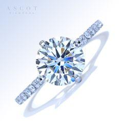 Beautiful Round Diamond French-Set Custom Design Engagement Ring by #ascotdiamonds