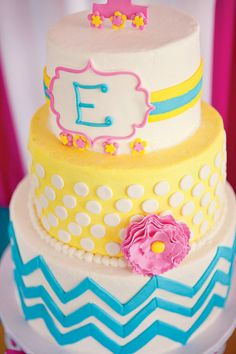 "Birthday Cake - Pink, Blue, and Yellow   * I think this cake was meant for me because that's my name... ""E"" <3"