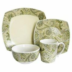 """16-piece dinnerware set for 4 with paisley motifs.     Product: 4 Dinner plates4 Salad plates4 Soup bowls4 Mugs    Construction Material: Ceramic    Color: Ivory and green   Features:  Evokes charming country cottage chic charm    Lovely addition to a rustic farmhouse table       Dimensions: Dinner plate: 10.5"""" H x 10.5"""" W eachSalad plate: 8.5"""" H x 8.5"""" W eachSoup bowl: 5.5"""" Diameter eachMug: 4"""" Diameter each"""
