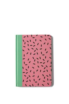 Very cute.   AA fun printed A5 fly page journal with printed internals, which come in a variety of fresh and colourful designs. 176 pages of 80gsm lined paper. Dimensions: 18.5cm x 13cm.