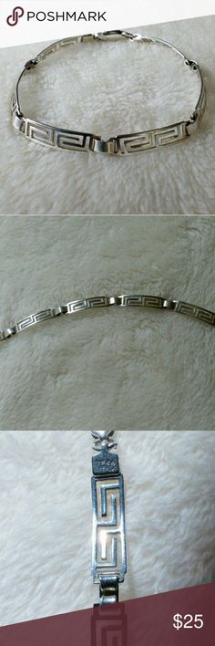"Sterling Greek Key Bar Link Chain Bracelet 7"" Very chic! In beautiful shape. 6mm wide by approx 7"". Weight is 6.3 g. Dainty yet it will get noticed! I was complimented many times. It is stamped, but I cannot read it. Vintage Jewelry Bracelets"