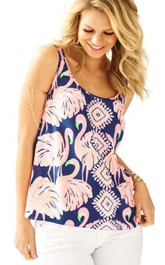 Lilly Pulitzer NWT Dusk Tank Top Pink Sunset $78
