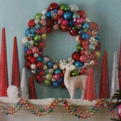 Fun colors - Christmas mantle