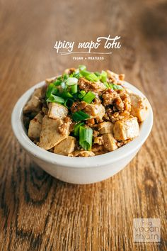 Vegan Spicy Mapo Tofu *Use their idea to replace minced pork with. Traditional Seitan, tempeh or shiitake mushrooms, minced in a food processor until coarsely ground Tofu Recipes, Asian Recipes, Vegetarian Recipes, Cooking Recipes, Healthy Recipes, Vegetarian Cooking, Vegan Food, Tofu Dishes, Side Dishes