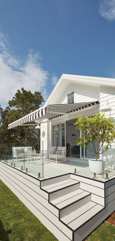 Luxaflex Ventura Folding Arm Awning, Cottage Deck - Three Birds Renovations House 8, Bonnie's Dream Home