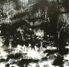 Landscape No.268  John Virtue    Virtue uses only black and white on his work as he sees colour as unnecessary distraction He uses shellac black ink and white paint. (John Virtue paintings, plastic arts, fine arts,visual arts)