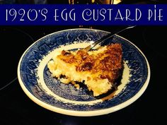 ✿´¯`*•.¸¸✿ SHARE ✿´¯`*•.¸¸✿  1920's Egg Custard Pie   Pie Ingredients:... Prepared Pie Crust or use the recipe below and make your own coconut crust 2 eggs 1/4 cup sugar 1 1/2 cups milk pinch salt 1/4 tsp nutmeg  Directions: Preheat Oven to 475 degrees F Beat Egg lightly, add sugar and salt. Add milk slowly beating well. Pour into prepared pie shell, sprinkle with nutmeg and bake at 475 F for 10 minutes. Reduce heat to 425 F and bake until custard is firm and lightly browned.  Optional…