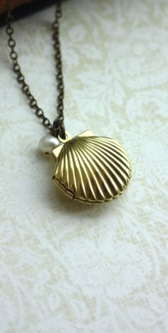Beach Wedding. Melody's Locket. Little Mermaid Locket. Shell Locket, Freshwater Pearl Necklace | By Marolsha.