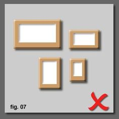 Examples of Dos and Don'ts of hanging pictures (arrangements)