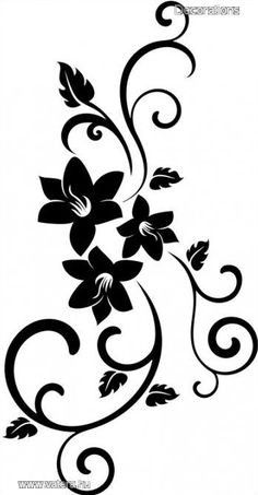 Drawing Stencils, Stencil Painting, Fabric Painting, Fabric Art, Stencil Patterns, Stencil Designs, Paint Designs, Flower Pattern Drawing, Flower Silhouette