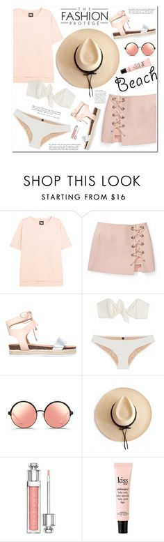 """""""No 398:The Beach (Top Set)"""" by lovepastel ❤ liked on Polyvore featuring Ivy Park, Rebecca Minkoff, Miss KG, Lisa Marie Fernandez, Matthew Williamson, Ryan Roche, Christian Dior, philosophy, beach and summerdate"""