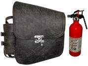 All Softail Models Left Side Solo Saddle Bag Rustic Black Leather with Spare Fire Extinguisher and Quick Release Latch