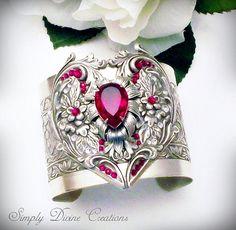 Swarovski Crystal Cuff Bracelet - Victorian Gothic Jewelry – Siam Red Swarovski Silver Bracelet Not once for bracelets but this is gorgeous. Goth Jewelry, Fantasy Jewelry, Silver Jewelry, Fashion Jewelry, Gothic Fashion, Jewlery, Silver Rings, Magical Jewelry, Unusual Jewelry