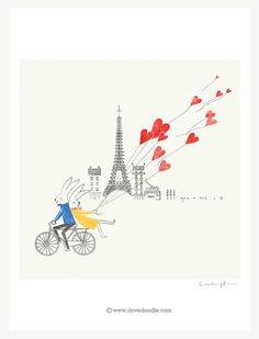 Love around the world Paris limited edition art by ilovedoodle