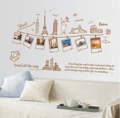Travel Photo Wall Stickers Frame Photo Tree Album Family Tree Memory Wall Decals Vinyl Creative Home Room Wallpaper