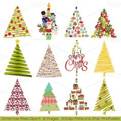 Christmas Trees Vectors and Clipart ~~ Our Christmas Trees Clipart includes 1 Illustrator EPS(8) vector file, 12 PNG files with transparent backgrounds and 12 JPG files with white backgrounds.   The PNGs and JPGs are 300dpi and approximately 10 inches at their widest point.