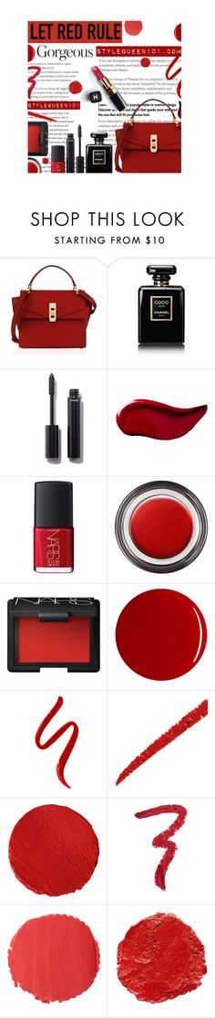 """Let Red Rule..."" by stylequeen-101 ❤ liked on Polyvore featuring beauty, Henri Bendel, Chanel, Kat Von D, NARS Cosmetics, Giorgio Armani, RGB, L'Oréal Paris, Gucci and Le Métier de Beauté"