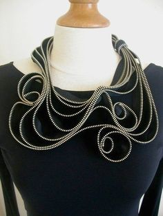 The Tangled Metal Zipper Necklace by ReborneJewelry on Etsy