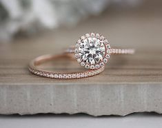 Brilliant Moissanite engagement ring set Rose gold Antique engagement ring vintage Curved Diamond Wedding women Art deco Bridal Jewelry Description: - Vintage style Moissanite and diamond ring - natural diamond - comfortable band Moissanite carat:approx Wedding Rings Simple, Wedding Rings Rose Gold, Bridal Rings, Unique Rings, Rose Gold Ring Set, Bridal Ring Sets, Rose Gold Bands, Wedding Ring With Band, Circle Wedding Rings