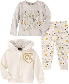 Calvin Klein Baby Girls Zip-Up Hoodie, Logo T-Shirt & Heart-Print Pants Set - Assorted Baby Girl Pajamas, Baby Girls, Toddler Girl, Calvin Klein, Baby Girl Jackets, Plus Size Shopping, Printed Pants, Zip Ups, Kids Outfits