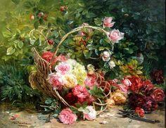 FEDERICO OLARIA (1849-1898) Basket of Flowers, Oil on canvas