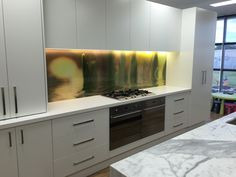 Printed glass Splashback at Wattle Valley Kitchens - Display Showroom. Printed Glass Splashbacks, Kitchen Display, Showroom, Custom Design, Kitchens, Kitchen Cabinets, Prints, Home Decor, Restaining Kitchen Cabinets