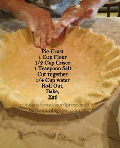 Pie Crust First thing, I just learned this about pie crust so before we get started I'm sharing it with you. If you are cooking an empty pie shell you put the little fork marks in it to get the air a…First thing, I just learned this about pie crust so b Homemade Pie Crusts, Pie Crust Recipes, Easy Pie Crust, Best Pie Crust Recipe, Apple Pie Recipe Easy, Baked Pie Crust, Single Pie Crust Recipe Crisco, Pie Crust Recipe With Self Rising Flour, Tupperware Pie Crust Recipe