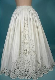 c. 1860's White Cotton Broderie Anglaise Lace Petticoat