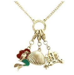 Gold little mermaid necklace.