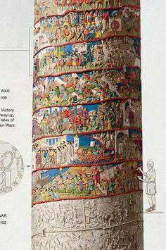 Columna Trajana - [Roman Emperor Trajan's Colmumn with estimates of original colors. Ancient Roman Houses, Ancient Rome, Ancient Art, Ancient History, Roman Architecture, Ancient Architecture, Roman History, Art History, Roman Drawings