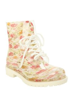White Floral Combat Boot   Hot Topic