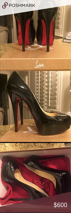"""Christian Louboutin Pumps: Bianca Christians Louboutin Pumps. 4.8"""" covered heel; 1.5"""" platform. Size 36 (6) Worn maybe 4 times. Purchased for $875 Christian Louboutin Shoes Platforms"""