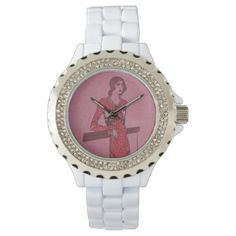 Fashionista Flapper Illustration Wrist Watch - drawing sketch design graphic draw personalize
