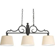 Progress Lighting Meeting Street Collection 3-Light Forged Black Chandelier-P4530-80 - The Home Depot
