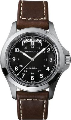 Hamilton Khaki King Automatic Day & Date Leather-Strap Watch Hamilton Watch Company, Hamilton Khaki King, Unusual Watches, Timex Watches, Best Watches For Men, Luxury Watches, Modern Watches, Jewels, Mens Fashion
