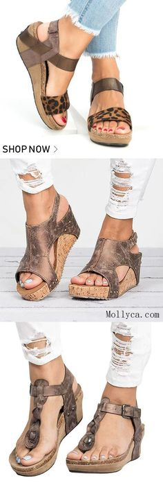 Buy 2 Got OFF Code: mollyca Med Wedge Comfortable Platform Women Sandals Collection Cute Shoes, Me Too Shoes, Estilo Fashion, Mode Style, Swagg, Beautiful Shoes, Summer Shoes, Women Sandals, Wedge Sandals