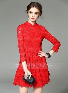 Fremfor Knee Mandarin Collar Polyester 100%Polyester Blonder 3/4 ermer Motekjoler