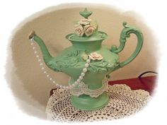 Teapot Shabby Chic Centerpiece 1905 Silverplate  Sage HM roses pearls  | Myeuropeantouch - Housewares on ArtFire