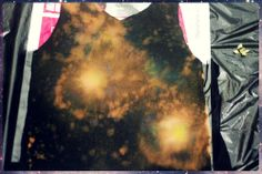 """Today's tutorial is how to create a galaxy """"print"""" on a black shirt with just bleach and acrylic paint. I've seen a lot of how-tos on this on the internet, so I came to the conclusion that the..."""