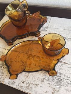 Vintage Snack Plate Set  Amber Glass  Pig by VintageDelight374
