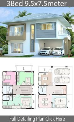House design plan with 3 bedrooms. Style ModernHouse description:Number… House design plan with 3 bedrooms. Style ModernHouse description:Number of floors 2 storey housebedroom. House Plans 2 Storey, Square House Plans, 2 Storey House Design, Small House Floor Plans, Dream House Plans, Village House Design, Bungalow House Design, House Front Design, Modern House Design