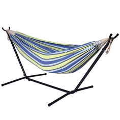 Camping Hammock with Stand - Double hammock Swing, 2 Person Brazilian Style, for Garden, Outdoor & Indoor, Portable for Travel Vacation, Space Saving Steel Frame & Carrying Bag
