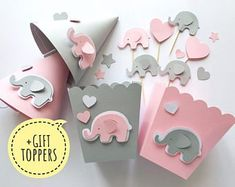 Excited to share the latest addition to my shop: Pink Gray Elephant Baby Shower Party Kit 1 st Girl Birthday Table Decorations Party Decor Favor Paper Box Hats Its a Girl +GIFT cake toppers Fiesta Baby Shower, Baby Shower Parties, Baby Boy Shower, Baby Shower Gifts, Shower Party, Elephant Party, Elephant Theme, Elephant Baby Showers, Grey Elephant