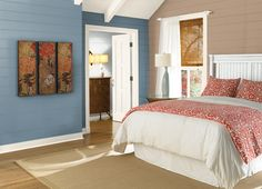 This is the project I created on Behr.com. I used these colors: NOMADIC(HDC-NT-22),LYRIC BLUE(HDC-AC-24),CAMPFIRE BLAZE(HDC-AC-06),CHENILLE SPREAD(HDC-NT-03),