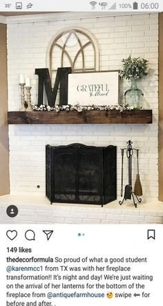 Trendy Farmhouse Style Mantle Decor Family Rooms You are in the right place about country farmhouse decor ladder Here we offer you the most beautiful pictures about the cou Farmhouse Fireplace, Home Fireplace, Fireplace Design, Brick Fireplace Decor, Fireplace Ideas, White Mantle Fireplace, Fireplace Kitchen, Small Fireplace, Mantel Shelf